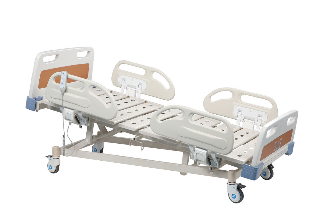 Electric ICU Hospital Bed Adjustable Steel Frame With Side Silcent Wheels