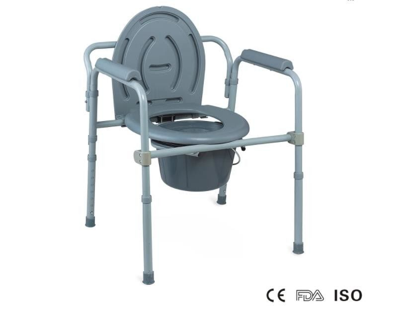 Bedside Handicapped Folding Commode Chair , Adult Toilet Potty Portable Commode Chair Elevated Seat