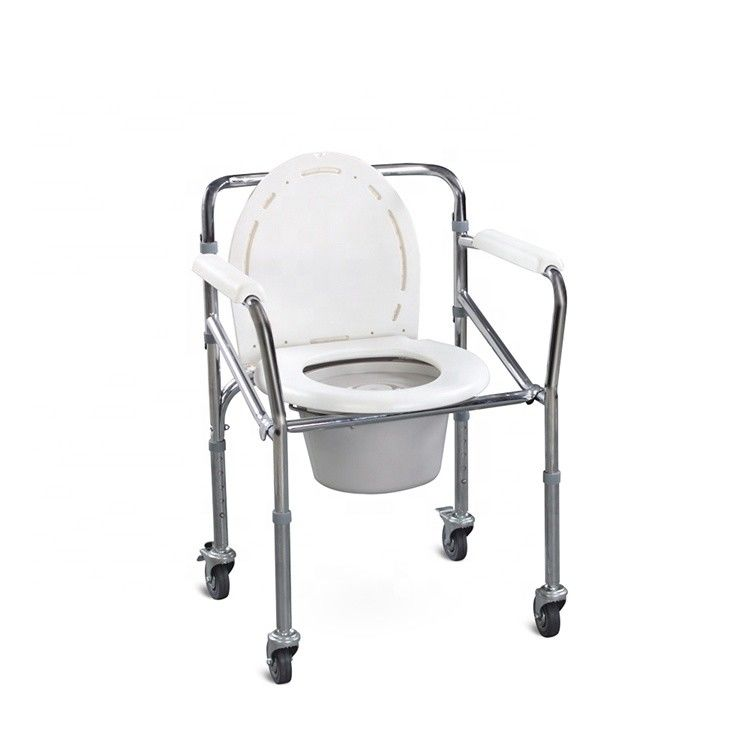 Lightweight Commode Toilet Chair , Showercollapsible Commode Chair For Elderly People